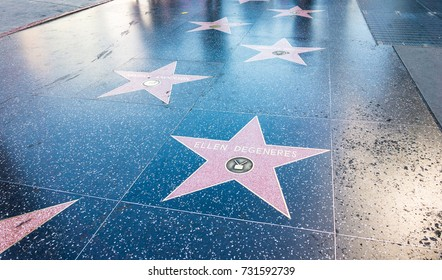 LOS ANGELES, USA - AUGUST 20, 2017: The Walk of Fame in Hollywood. The famous area has over 2600 stars to honor significant people in entertainment industry. Editorial.