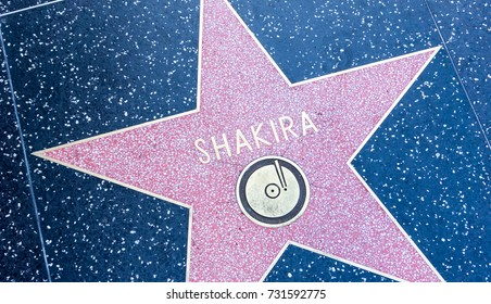 LOS ANGELES, USA - AUGUST 20, 2017: Singer Shakira's star in the Hollywood Walk of Fame. Shakira received the star in 2011. Editorial.