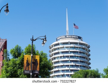 LOS ANGELES, USA - AUGUST 20, 2017: The Capitol Records Tower in Hollywood. Capitol Records is an American major record label. Editorial.