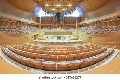 LOS ANGELES, USA - AUGUST 21, 2015: Interior of the Walt Disney Concert Hall The hall designed by Frank Gehry and opened in 2003. The main stage is made from Alaskan yellow cedar.