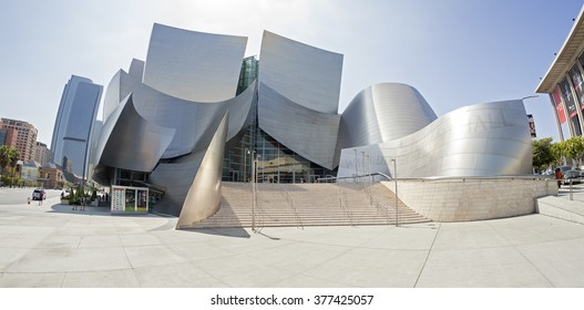 LOS ANGELES, USA - AUGUST 21, 2015:  Fisheye lens photo of Walt Disney Concert Hall designed by Frank Gehry, home of the Los Angeles Philharmonic orchestra and the Los Angeles Master Chorale.