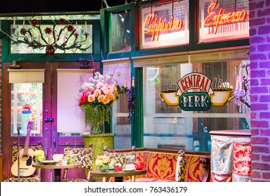 LOS ANGELES, USA - AUGUST 24, 2017: Central Perk cafe in the Warner Bros Studio Tour in Burbank. Central Perk was one of the main locations in the popular 90s tv series Friends. Editorial.