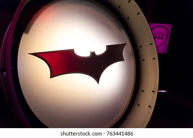LOS ANGELES, USA - AUGUST 24, 2017: Batman's bat signal light and logo in Warner Bros Studio Tour. The famous superhero was created by Bob Kane and Bill Finger. Editorial.
