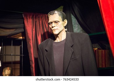LOS ANGELES, USA - AUGUST 25, 2017: Frankenstein's monster in Hollywood Wax Museum. The fictional character first appeared in Mary Shelley's novel in 1818. Editorial.