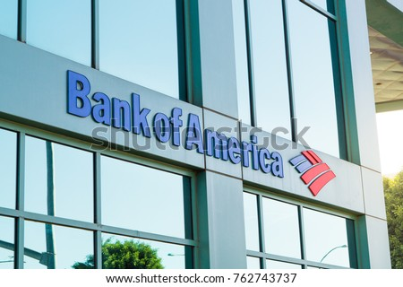 LOS ANGELES, USA - AUGUST 28, 2017: The logo of Bank of America in modern office building in Beverly Hills. Bank of America is a banking and financial services corporation. Editorial.