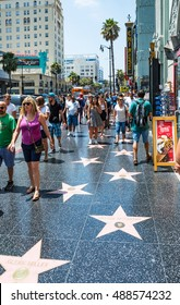 LOS ANGELES, USA - AUGUST 5, 2016: Walk of Fame on Hollywood Boulevard on August 5th 2016.