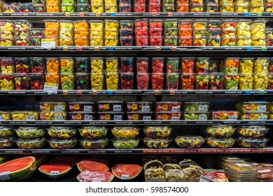 LOS ANGELES, USA CALIFORNIA - NOVEMBER 2, 2016: Various products on the shelves. Fruits and vegetables in a grocery store. Healthy food store.