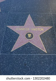 LOS ANGELES, USA - CIRCA AUGUST 2012: Jennifer Aniston star on Hollywood Walk of Fame (Hollywood Boulevard)