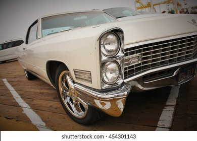 Los Angeles, USA. Circa September 2010. An old vintage white cadillac with a vignetting effect