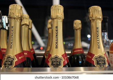 LOS ANGELES, USA – DECEMBER 17 2017: American Airlines serves Bollinger Champagne in its Flagship Lounge at Los Angeles International Airport (LAX).