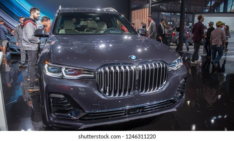 LOS ANGELES/ USA - DECEMBER 1st, 2018. The new BMW X7 SUV debuts at the LA Auto Show 2018 at the Los Angeles Convention Center.