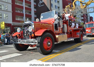 Los Angeles, USA - February 13, 2016: Vintage fire truck during the 117th Golden Dragon Parade, celebrating Chinese New Year and the Year of the Monkey.