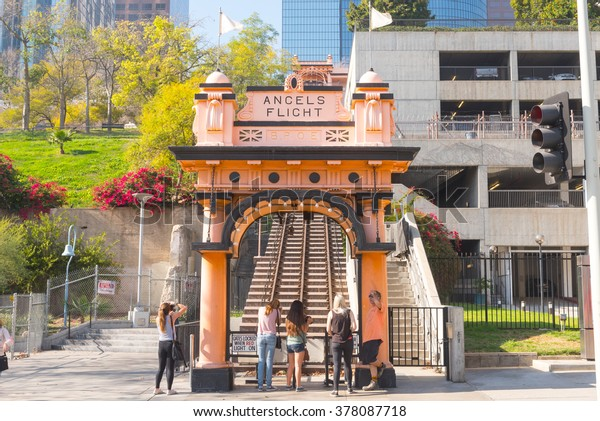 Los Angeles, USA - February 13: Angel's Flight in downtown of Los Angeles, CA on February 13, 2016.