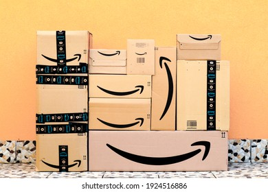 Los Angeles, USA – February 25, 2021: AMAZON Shipping Cardboard Boxes. Amazon is an American Multinational Technology Company of e-commerce