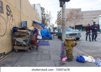 LOS ANGELES, USA - JAN 02, 2017. Poverty in Los Angeles Skid Row and Downtown districts, poor homeless people living on the streets