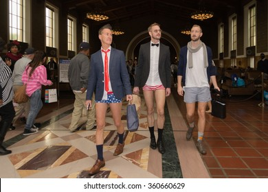 Los Angeles, USA - January 10, 2016: Men without pants on the subway during the 8th Annual No Pants Metro Ride.