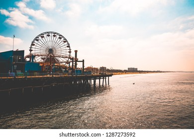 Los Angeles, USA. January 15, 2019. Beautiful view of the Santa Monica pier and the amusement park near Venice beach. Beautiful Californian weather.