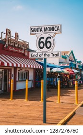 """Los Angeles, USA. January 15, 2019. """"Santa Monica 66 End of the trail"""" sign. Famous end of route 66."""
