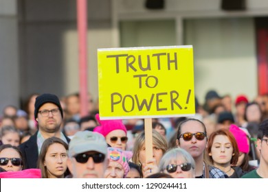 Los Angeles, USA - January 19, 2019: Protester holding a sign during 3rd Womens March in Los Angeles.