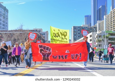 Los Angeles, USA - January 19, 2019: Protesters holding a sign during 3rd Womens March in Los Angeles.