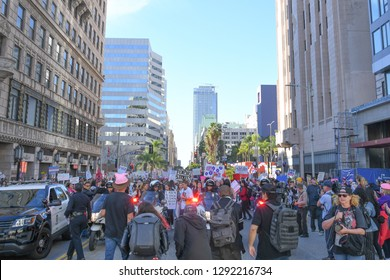 Los Angeles, USA - January 19, 2019: Police Officers and protester during 3rd Womens March in Los Angeles.