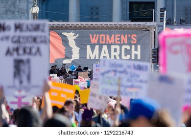 Los Angeles, USA - January 19, 2019: Women protesters hold poster  during 3rd Womens March in Los Angeles.