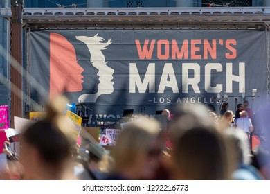 Los Angeles, USA - January 19, 2019:  Thousands of women turned out for the  3rd Womens March in Los Angeles.