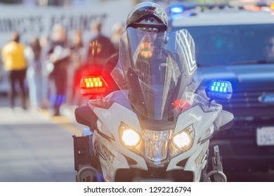 Los Angeles, USA - January 19, 2019:  Police Department motorcycle officer during 3rd Womens March in Los Angeles.