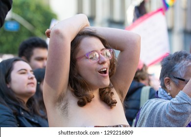 Los Angeles, USA - January 19, 2019: Woman dancing  during 3rd Womens March in Los Angeles.
