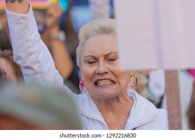 Los Angeles, USA - January 19, 2019: Woman protester  during 3rd Womens March in Los Angeles.