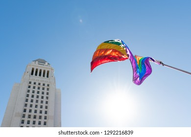 Los Angeles, USA - January 19, 2019: LGBT flag in front of the Los Angeles City Hall. during 3rd Womens March in Los Angeles.
