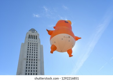 Los Angeles, USA - January 19, 2019: Trump baby balloon during 3rd Womens March in Los Angeles.