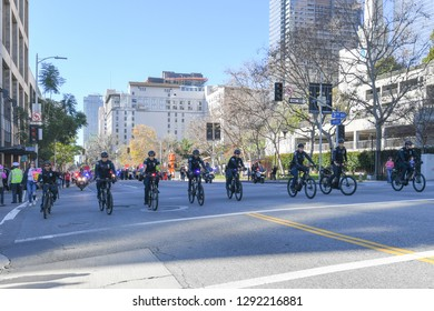 Los Angeles, USA - January 19, 2019: Police Officers riding bicycles during 3rd Womens March in Los Angeles.