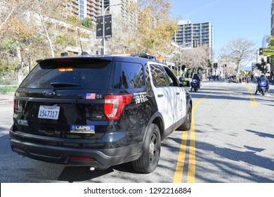 Los Angeles, USA - January 19, 2019: Police Officers vehicles during 3rd Womens March in Los Angeles.