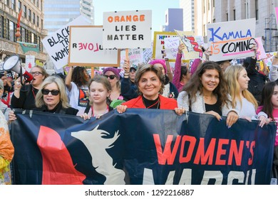Los Angeles, USA - January 19, 2019: Women protesters hold posters during during 3rd Womens March in Los Angeles.