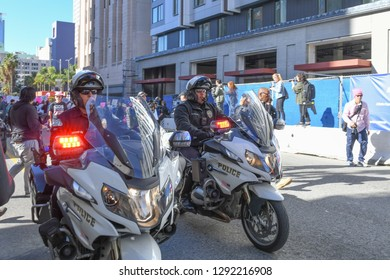 Los Angeles, USA - January 19, 2019:  Police Department motorcycle officers during 3rd Womens March in Los Angeles.