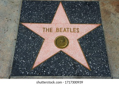 LOS ANGELES, USA - January 2020: Beatles (John Lennon, Paul McCartney, Ringo Star and George Harrison ), legendary band's star at Hollywood's Walk Of Fame on Hollywood Blvd. Music legends and celebs.