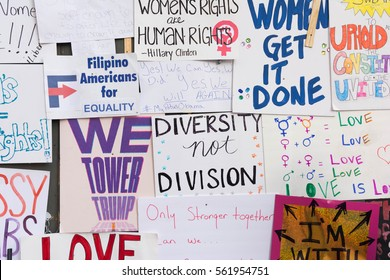 Los Angeles, USA - January 21, 2017:    Wall covered with protest posters during Women's March Los Angeles in Downtown LA.