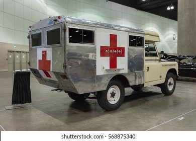 Los Angeles, USA - January 28, 2017: 1966 Land Rover IIA British Military Ambulance on display during The Classic Auto Show at the Los Angeles Convention Center.