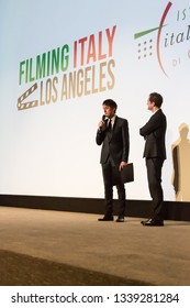 LOS ANGELES, USA - JANUARY 31, 2019: Giulio Base presents his movie 'The Anarchist Banker' at 'Filming Italy - Los Angeles' festival at Harmony Gold Theater on January 31, 2019 in Los Angeles.