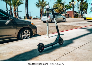 Los Angeles, USA. January 7, 2019. Bird Electric Ride Sharing Scooters in the sunny LA near Santa Monica.