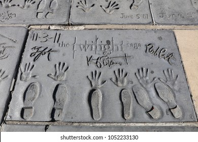 Los Angeles, USA – July 10, 2017: Handprints of Twilight Stars in Hollywood Boulevard in Los Angeles. There are nearly 200 celebrity handprints in the concrete of Chinese Theatre's forecourt.