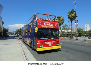 Los Angeles, USA – July 10, 2017: Hop On Hop Off Sightseeing Bus in Los Angeles. California. USA
