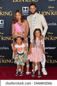 """LOS ANGELES, USA. July 10, 2019: Ayesha Curry, Steph Curry, Riley Curry & Ryan Curry at the world premiere of Disney's """"The Lion King"""" at the Dolby Theatre.Picture: Paul Smith/Featureflash"""