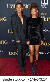 """LOS ANGELES, USA. July 10, 2019: Chloe Bailey & Halle Bailey at the world premiere of Disney's """"The Lion King"""" at the Dolby Theatre.Picture: Paul Smith/Featureflash"""