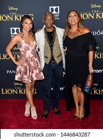 "LOS ANGELES, USA. July 10, 2019: LaVar Burton, Stephanie Cozart Burton & Michaela Jean Burton at the world premiere of Disney's ""The Lion King"" at the Dolby Theatre.
