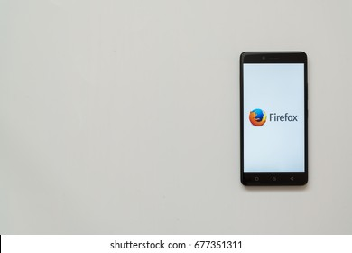 Los Angeles, USA, july 13, 2017: Mozilla firefox logo on smartphone screen on white background.