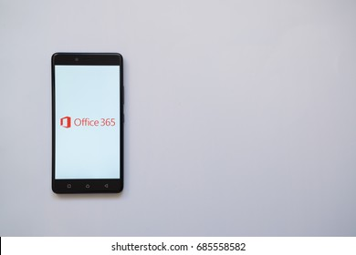 Los Angeles, USA, july 13, 2017: Microsoft Office 365 logo on smartphone screen on white background.