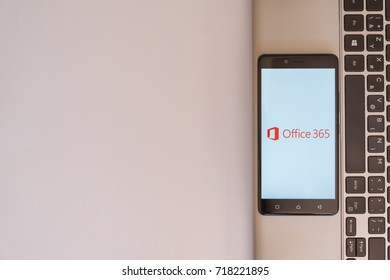 Los Angeles, USA, july 18, 2017: Microsoft office 365 logo on smartphone screen placed on the laptop on white background.