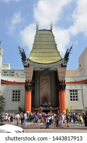LOS ANGELES, USA- JULY 2019: TLC Chinese Theater's entrance full of tourists in Los Angeles, USA.